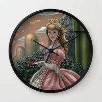 peach Wall Clocks featuring Peach by Joifish