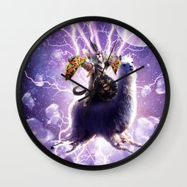 Lazer Warrior Space Cat Riding Llama With Taco Wall Clock