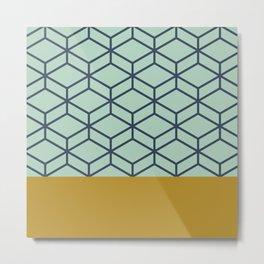 Geometric Honeycomb Lattice Half Pattern in Aqua Mint, Blue, and Golden Mustard Metal Print