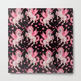 Pink Unicorn Pegasus on Black Metal Print