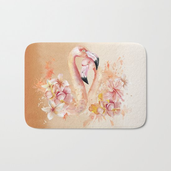 Tropical birds- Flamingo in LOVE with exotic flowers on #Society6 Bath Mat