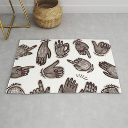 hand gestures and white henna tattoo Rug