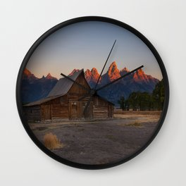 Moulton Barn - Sunrise in Grand Tetons Wall Clock