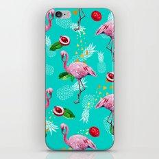 Tropical fruits among flamingos iPhone & iPod Skin