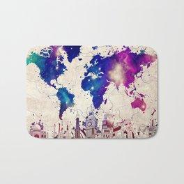 world map city skyline galaxy 2 Bath Mat