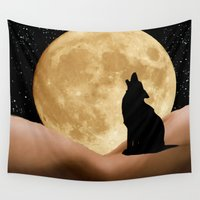 howl Wall Tapestries featuring Howl at the Moon by Geni