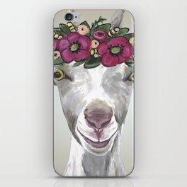 Flower Crown Goat Tan, Cute Goat Painting iPhone Skin