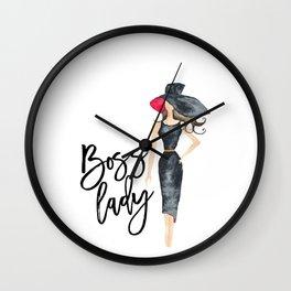 Boss lady,Inspirational Print,Office Decor,Office Wall art,Office Print,Gift For Boss,Gift For Her Wall Clock