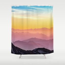 sky blue yellow orange purple Shower Curtain