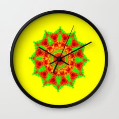 Lovely Healing Mandalas in Brilliant Colors: Red, Yellow, and Green Wall Clock