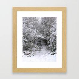 Snow Steps Framed Art Print