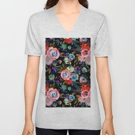 Pink red blue watercolor hand painted flowers Unisex V-Neck