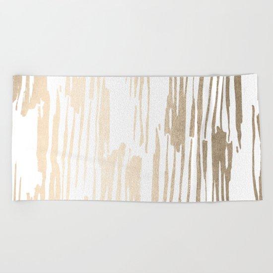 White Gold Sands Thin Bamboo Stripes Beach Towel