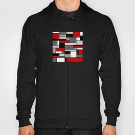 Mid Century Modern Color Blocks in Red, Gray, Black and White Hoody