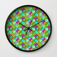 70s Wall Clocks featuring 70s retro circles,green by MehrFarbeimLeben