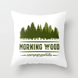 Morning Wood Campgrounds Throw Pillow