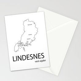 map of lindesnes Stationery Cards