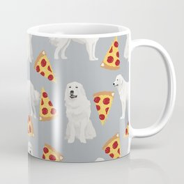 Great Pyrenees pizza dog portrait custom dog breed art print dog person gifts for christmas Coffee Mug