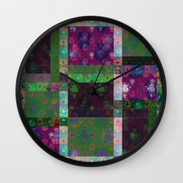 Lotus flower green and maroon stitched patchwork - woodblock print style pattern Wall Clock