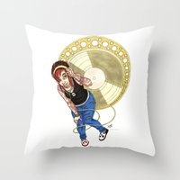 mucha Throw Pillows featuring Mucha Music Fan by Adriana Blake