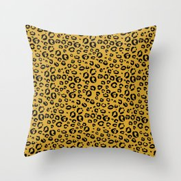 Leopard (black on gold) Throw Pillow