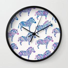 Zebras – Periwinkle Palette Wall Clock