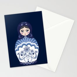 Matryoshka Doll with folk floral ornament of blue color Stationery Cards