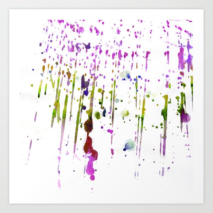 Abstract Lime Green Neon Pink Purple Watercolor Paint Splatters Art Print By Water Society6
