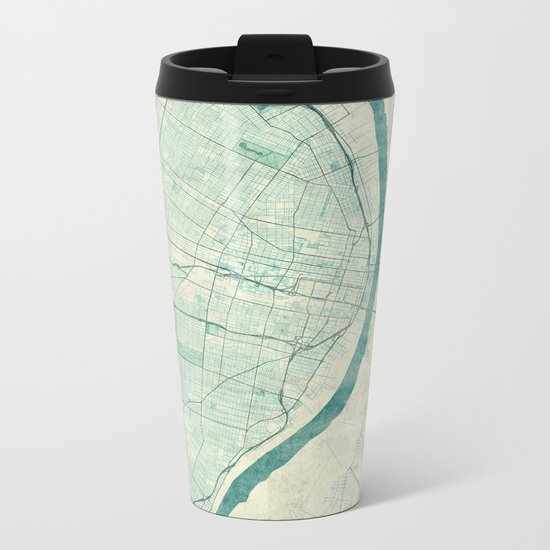 St. Louis Map Blue Vintage Metal Travel Mug