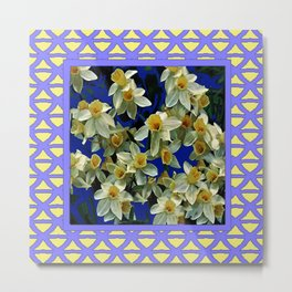 Lilac Lattice white Narcissus Flowers Pattern Metal Print