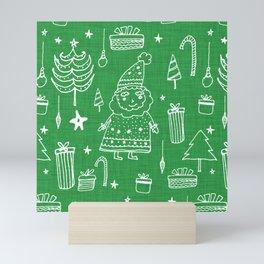 Santa Workshop Green Mini Art Print