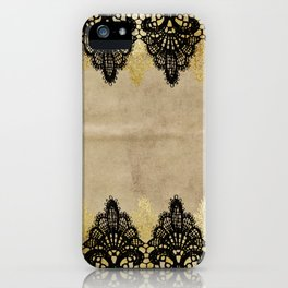 Elegance- Ornament black and gold lace on grunge paper backround iPhone Case