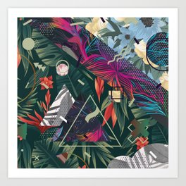Floral Memphis Style Art Print