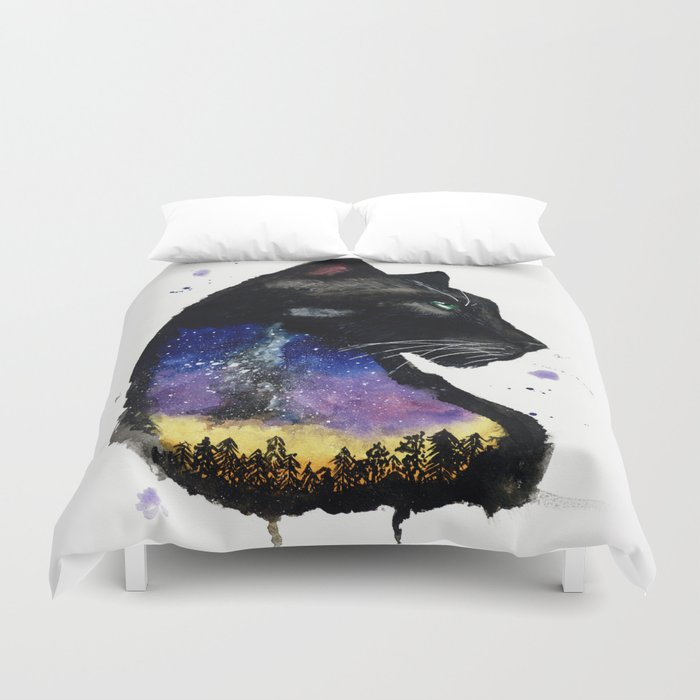Galaxy Panther Duvet Cover