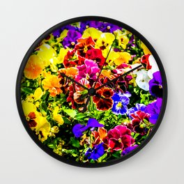 Viola Tricolor Pansy Flowers Wall Clock