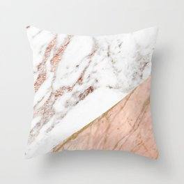 Marble rose gold blended Throw Pillow