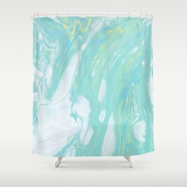 Grunge green marble Shower Curtain