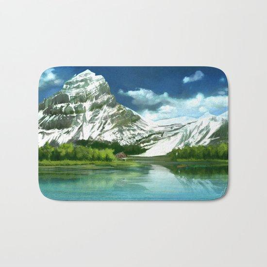 Mountain and lake landscape Bath Mat