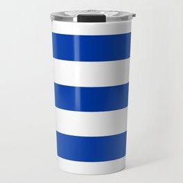 Royal azure - solid color - white stripes pattern Travel Mug