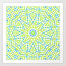 Abstract mosaic pattern .  Lemon color and sky blue . Art Print