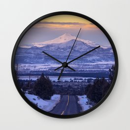 Pacific Northwest Sunset Over Cascades Wall Clock