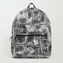 Alligator Skin // Black and White Worn Textured Pattern Animal Print Backpack