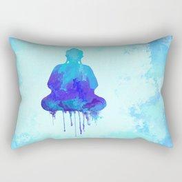 Watercolor zen Buddha blue Rectangular Pillow