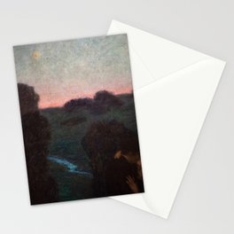 The Romantic Lovers Kissing under the Evening Star by Franz von Stuck Stationery Cards