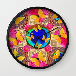 Fuchsia  Pink Yellow Butterflies Blue Patterns Wall Clock