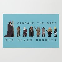 gandalf Area & Throw Rugs featuring gandalf the grey and seven hobbits by gazonula