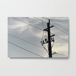 power pole with lines urban modern dark electric sky Metal Print