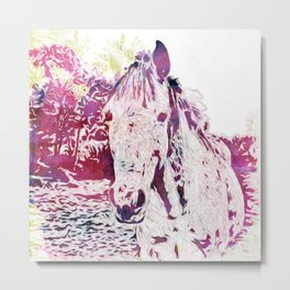 Watercolors - Horse Metal Print