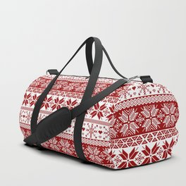 Red Winter Fair Isle Pattern Duffle Bag