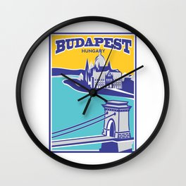 Budapest vintage poster, Chain Bridge Wall Clock